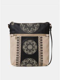 Černo-béžová vzorovaná crossbody kabelka Desigual Lady Kaua