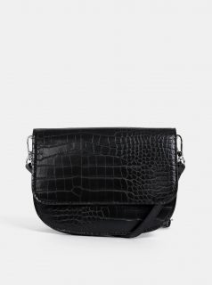 Černá crossbody kabelka s hadím vzorem Pieces Ebba