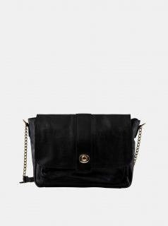 Černá kožená crossbody kabelka Pieces Luna