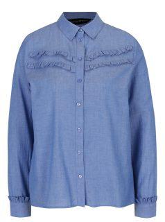 Modrá košile s volánky a dlouhým rukávem Dorothy Perkins