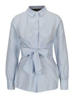 Modro-bílá pruhovaná košile se zavazováním Dorothy Perkins