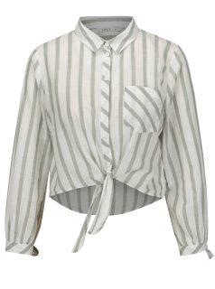 Krémovo-zelená pruhovaná krátká košile ONLY Ameli