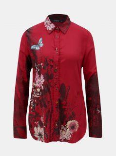 Červená košile s potiskem a dlouhý rukávem Desigual Fragancy