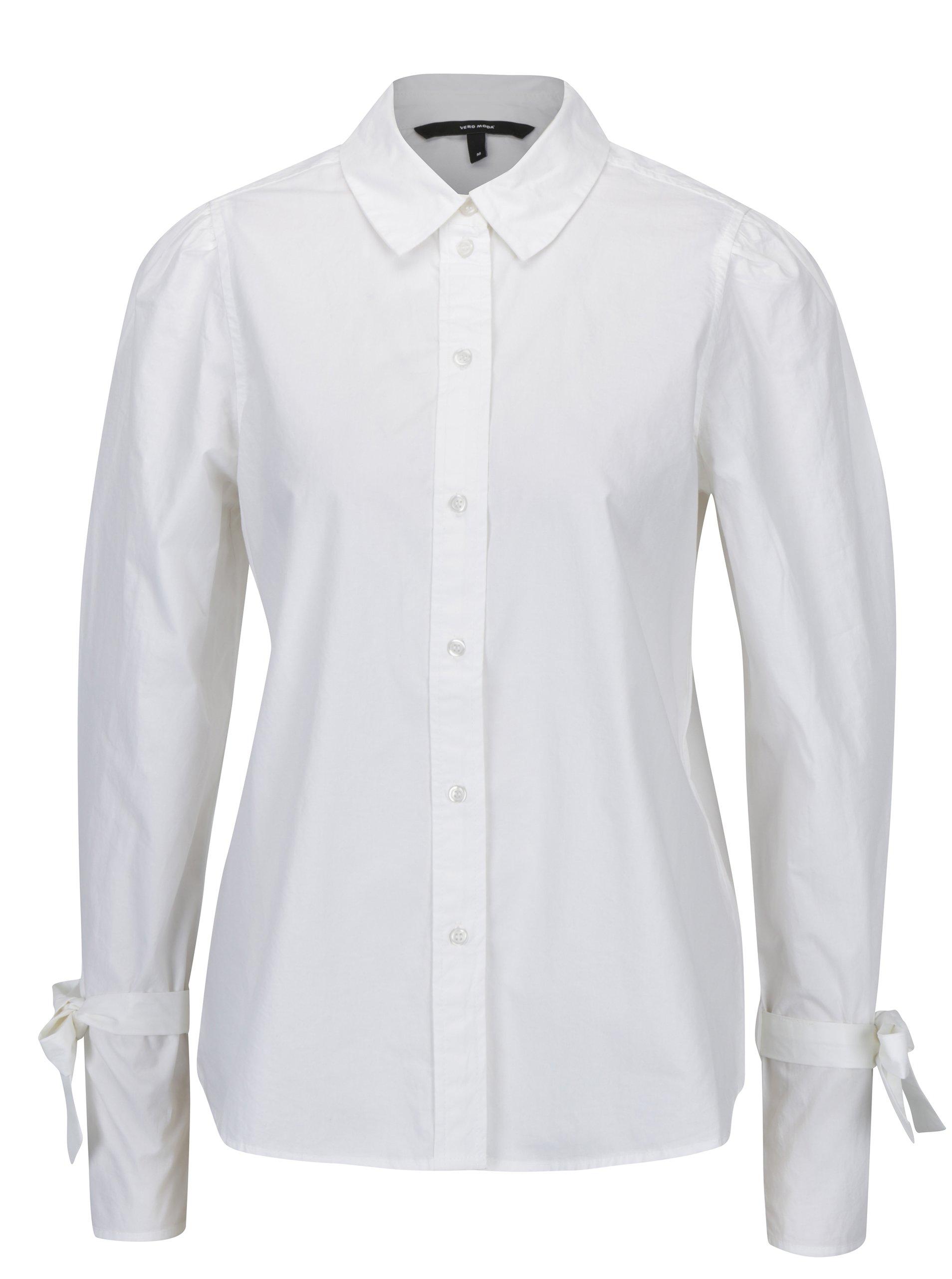 Bílá košile se zavazováním na rukávech VERO MODA Juljane