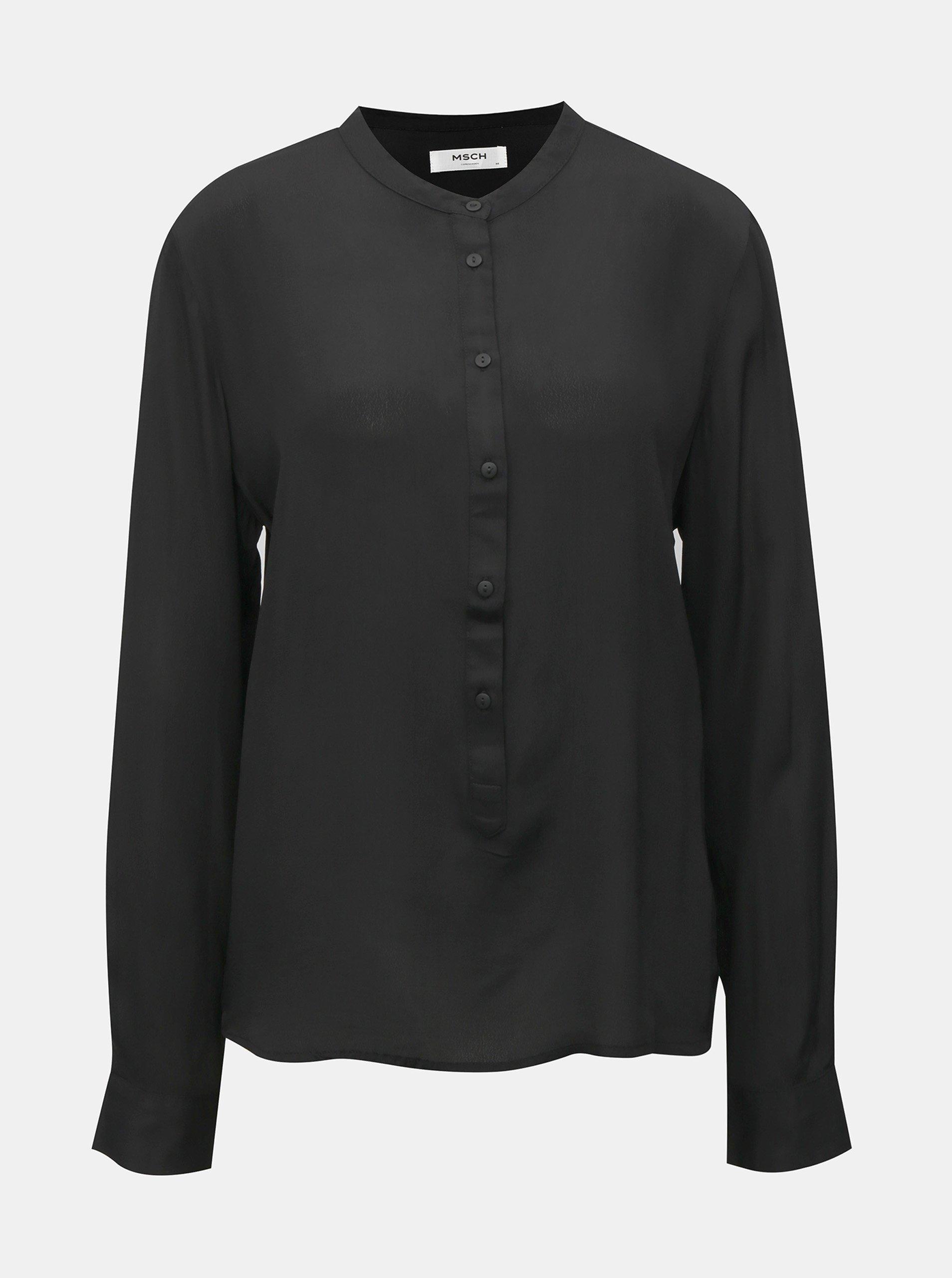 Černá volná košile bez límečku Moss Copenhagen Luella
