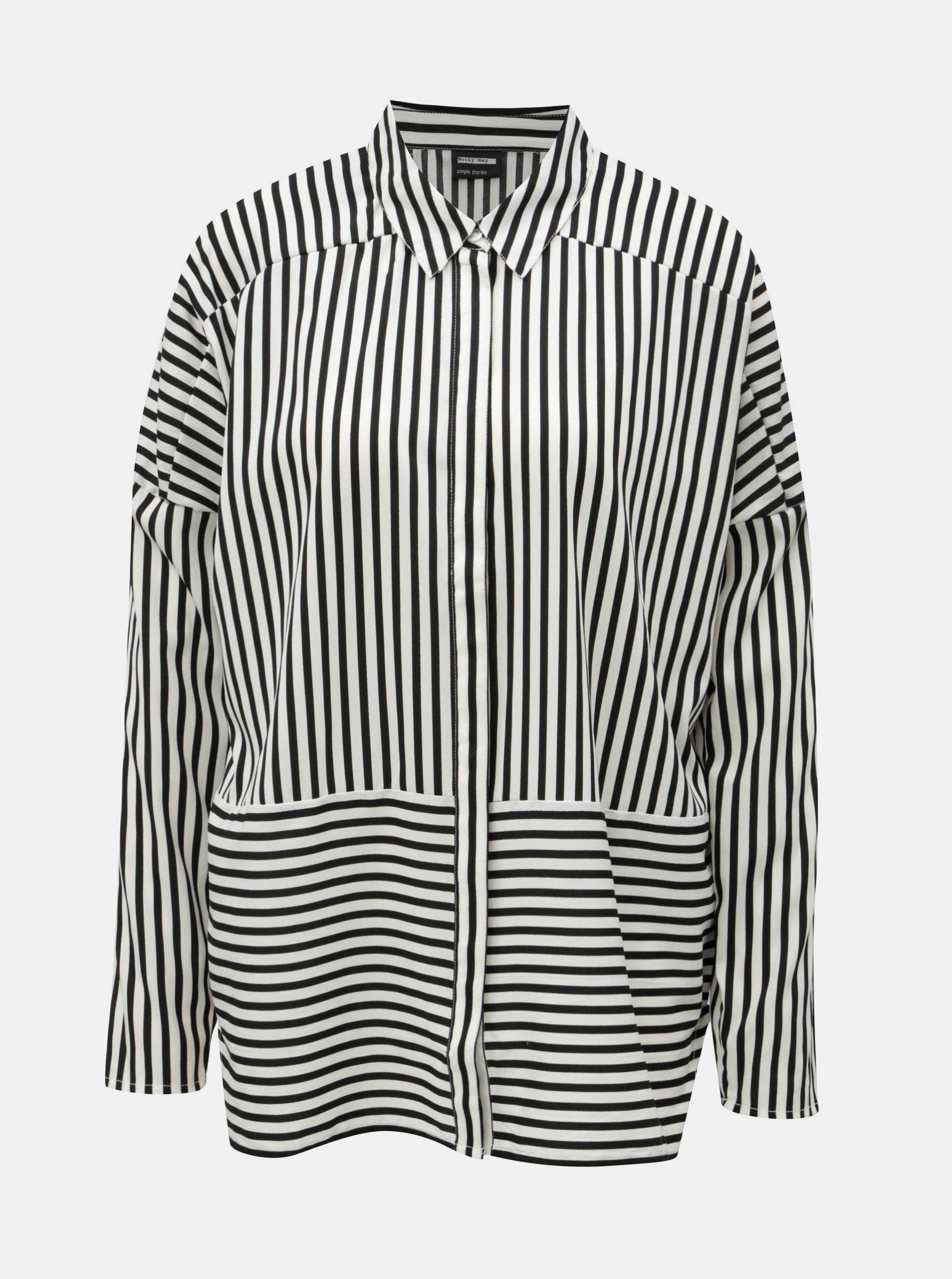 Černo-bílá lehká pruhovaná oversize košile Noisy May