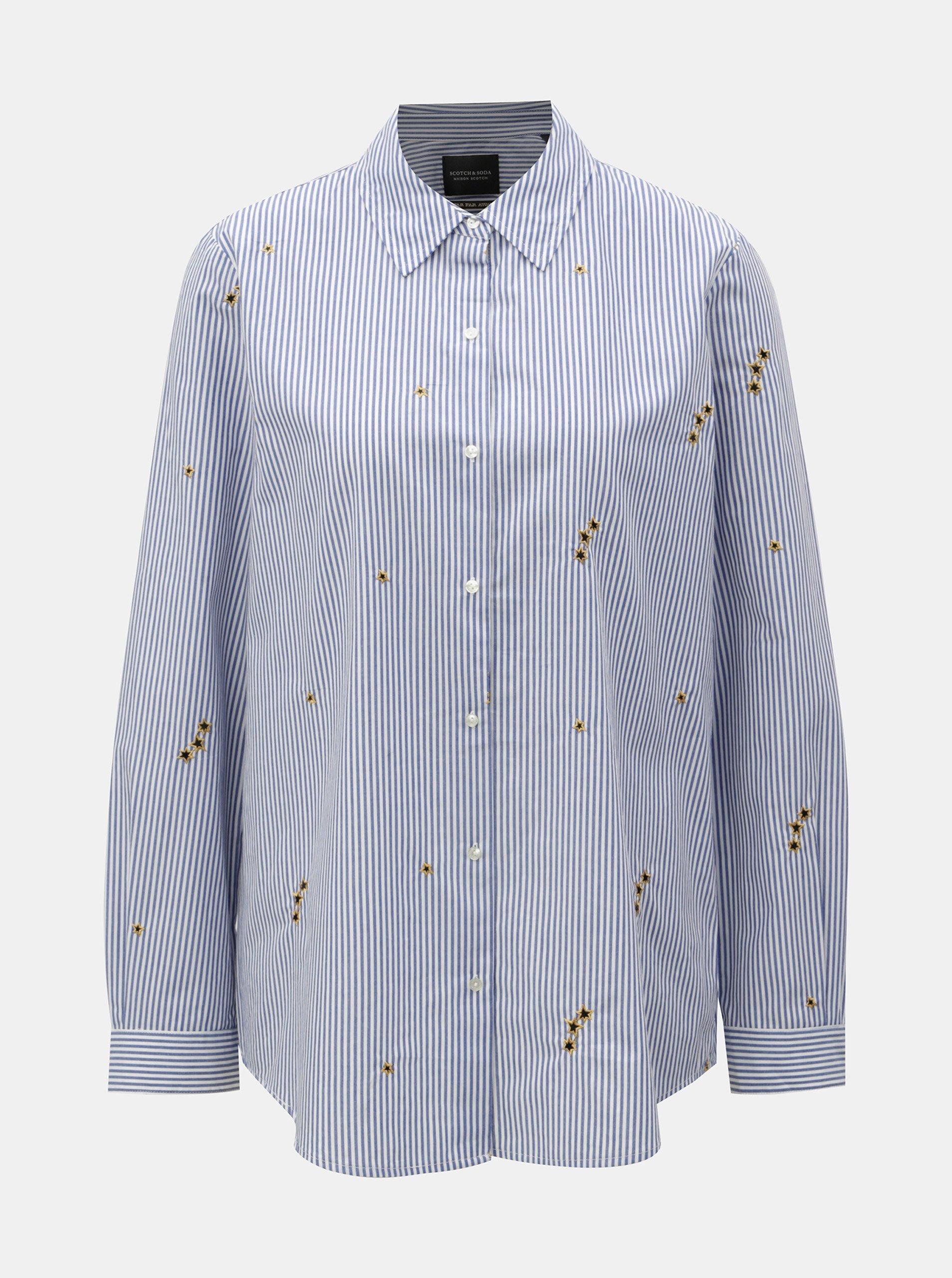 Bílo-modrá pruhovaná košile s výšivkami Scotch & Soda
