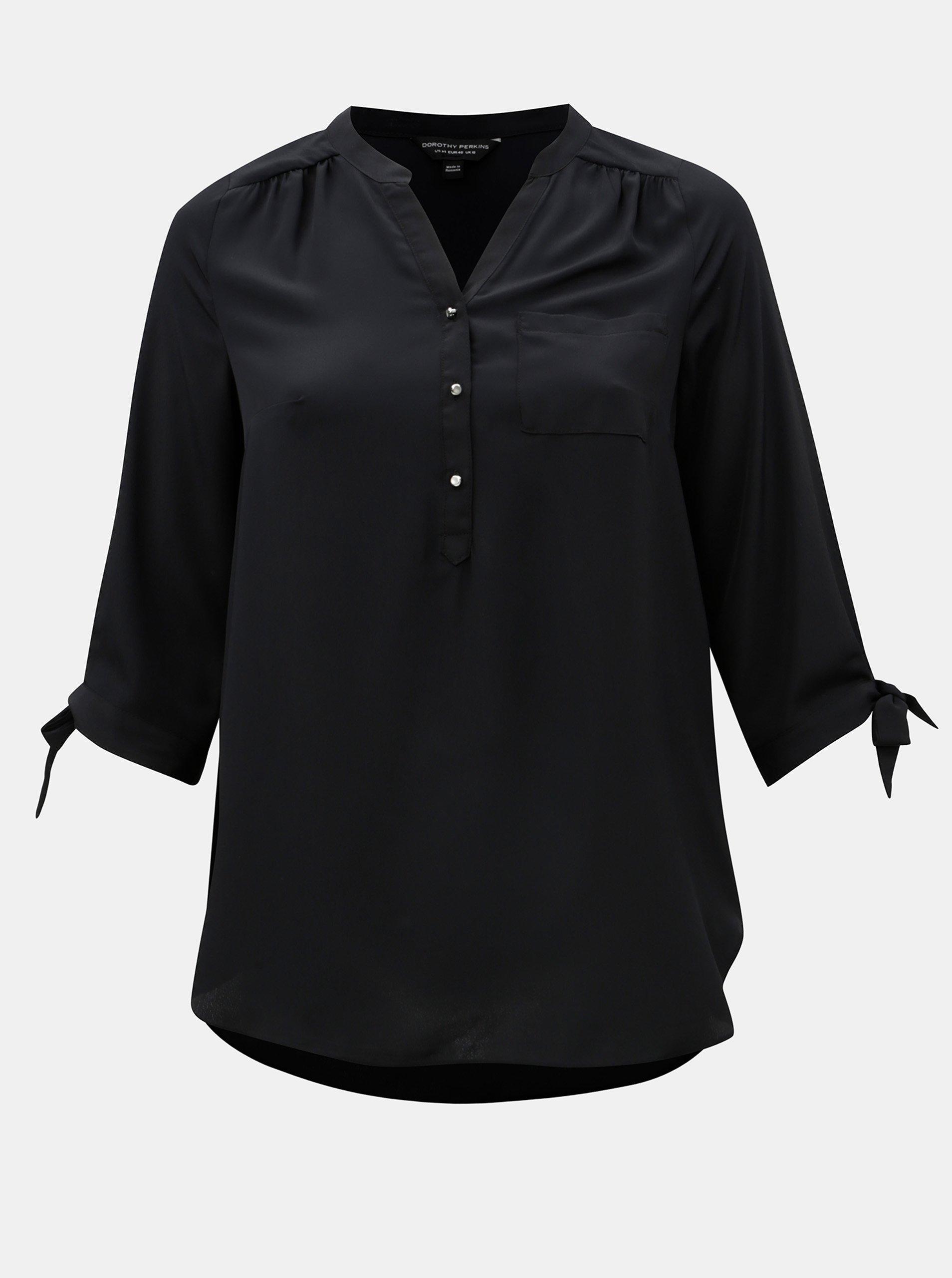 Černá košile s 3/4 rukávem Dorothy Perkins Curve
