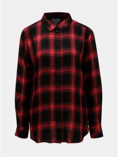 Černo- červená károvaná košile s metalickým vláknem Jacqueline de Yong Frans