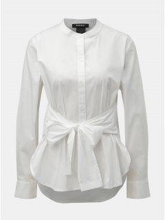 Bílá košile s mašlí DKNY Mandarin Collar