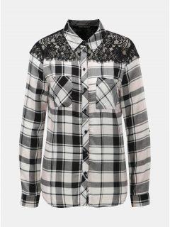 Bílo-černá károvaná košile s krajkou na ramenou TALLY WEiJL