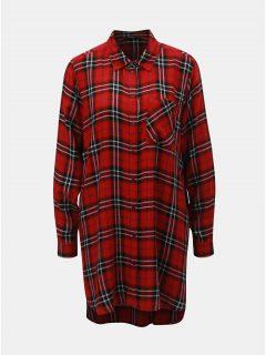 Černo-červená dlouhá károvaná košile ONLY