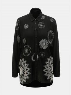 Černá volná vzorovaná košile s prodlouženou zadní částí Desigual Paula