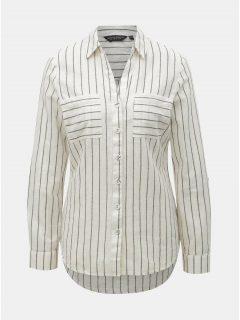 Šedo-krémová pruhovaná košile Dorothy Perkins