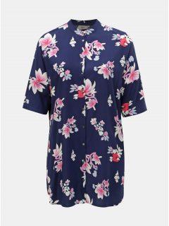 Tmavě modrá květovaná dlouhá košile ONLY CARMACOMA Max