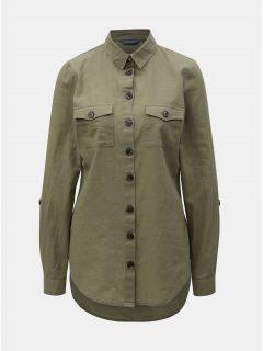 Khaki volná košile s příměsí lnu Dorothy Perkins Tall
