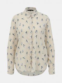 Krémová vzorovaná košile VERO MODA Fedora