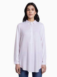 Bílá dámská volná košile s příměsí lnu Tom Tailor