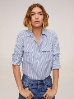 Světle modrá pruhovaná košile Mango Valen
