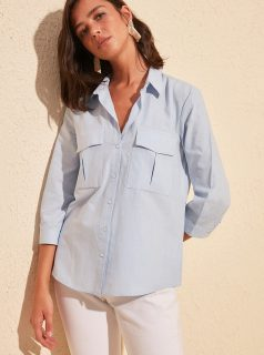 Světle modrá košile Trendyol
