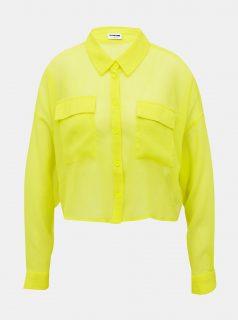 Neonově žlutá krátká průsvitná košile Noisy May Neno
