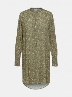 Khaki květovaná dlouhá košile Jacqueline de Yong Peak