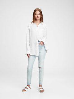 Bílá dámská košile ls linen bf sh