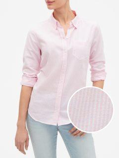 Růžová dámská košile v-fitted boyfriend oxf
