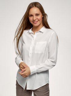 Košile rovného střihu s kapsou na prsou OODJI