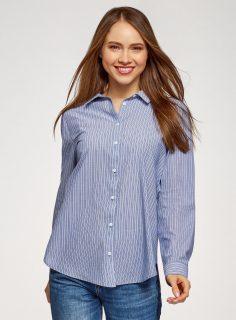 Košile bavlněná rovného střihu OODJI