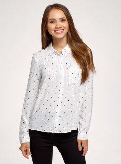 Košile volná – nevypasovaná s ozdobnými knoflíčky na zádech OODJI
