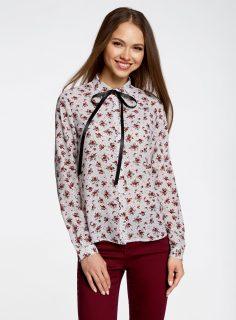Košile s potiskem s kontrastním knoflíkem OODJI