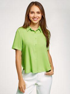 Košile viskózová s krátkými rukávy OODJI