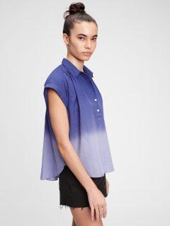 Modrá dámská košile pleated popover