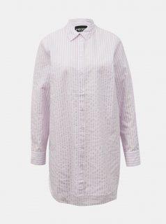 Světle růžová pruhovaná dlouhá košile Pieces Sheridan