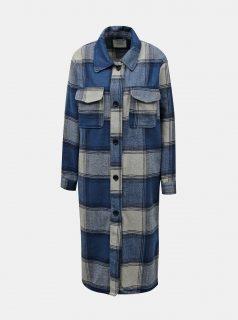 Modrá kostkovaná dlouhá košile Jacqueline de Yong Umala
