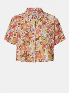 Hnědo-krémová květovaná krátká košile Noisy May Nika