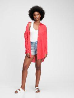 Oranžová dámská košile shirtdress linen tunic shirt