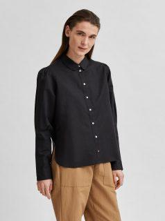 Černá volná lněná košile Selected Femme Sybilla
