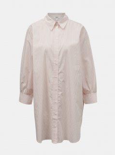 Hnědo-bílá pruhovaná dlouhá košile .OBJECT Mahin