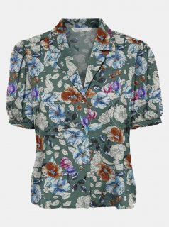 Zelená květovaná košile s krátkým rukávem ONLY-Nova