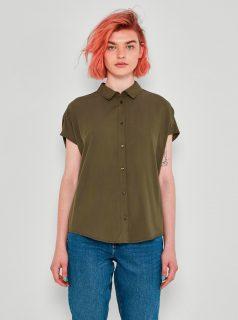 Khaki košile s krátkým rukávem Noisy May Atle