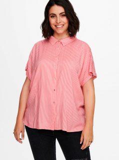 Růžovo-bílá pruhovaná košile ONLY CARMAKOMA