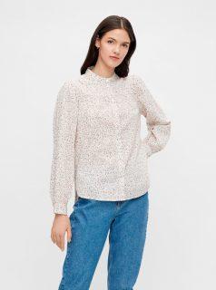 Růžovo-bílá květovaná košile Pieces Lindsey