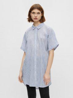 Světle modrá dlouhá pruhovaná košile Pieces Terra