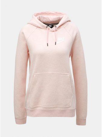 5ace0d3ca44 Světle růžová dámská žíhaná mikina s kapucí Nike - Dámské mikiny