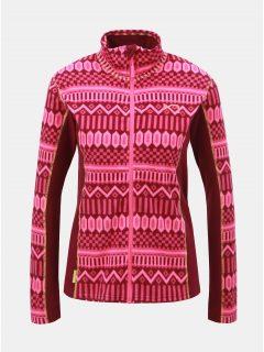 Tmavě růžová fleecová vzorovaná mikina Kari Traa Kroll
