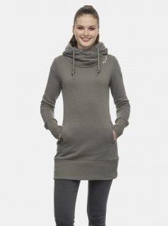 Khaki dámská dlouhá mikina s kapucí Ragwear
