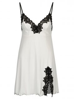 Černo-bílá noční košilka s rozparkem Eldar Roma