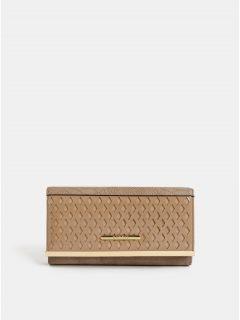 Béžová velká peněženka s detaily ve zlaté barvě Bessie London